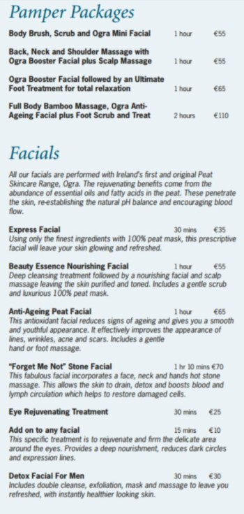 Pamper packages and Facials